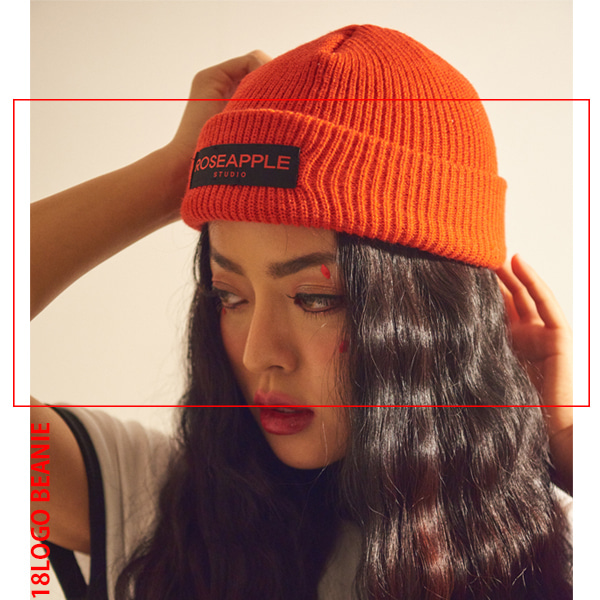 [로즈애플:ROSEAPPLE] 18 LOGO BEANIE [RED]