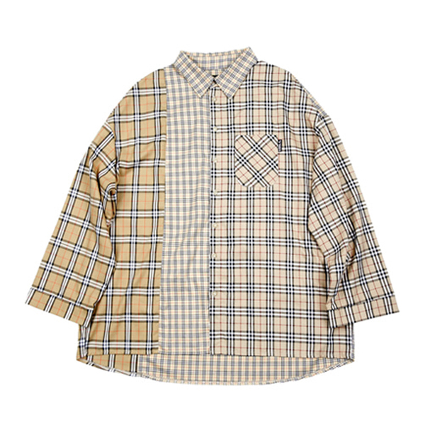 [아조바이아조:AJOBYAJO] Over Check Mixed Shirt  (Beige)