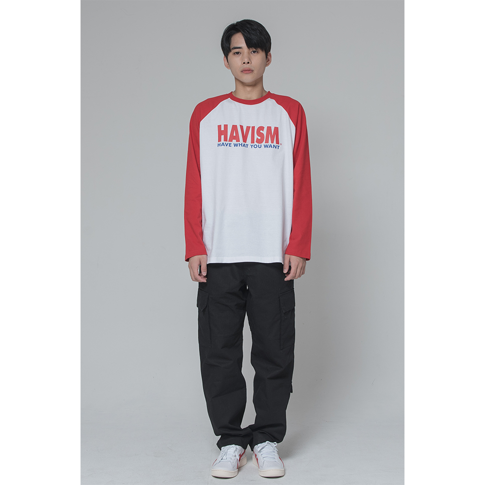 [해비즘 : HAVISM ] LOGO RAGLAN TEE(RED)