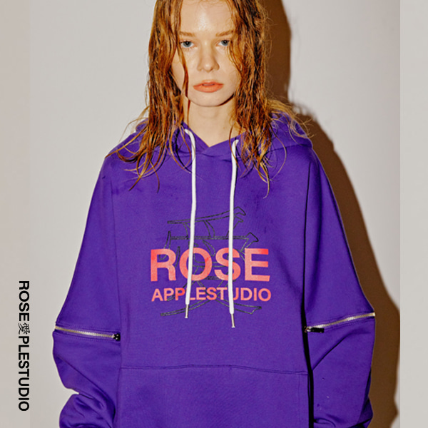 [로즈애플:ROSEAPPLE]  Zipper 19logo hoodie - purple
