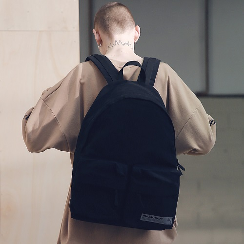 [매스노운 : MASSNOUN] SL LOGO TWO POCKET BACKPACK MSNAB001-BK