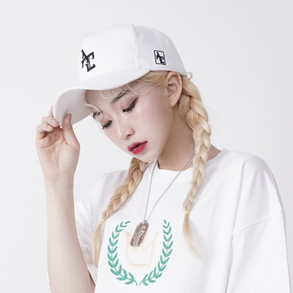 [A.CLOWN:에이클라운] AC Logo Pinch Deep Ball-Cap WHITE